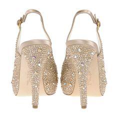 Clio Camel Satin Swarovski Slingback Platform Heel | Gina Shoes