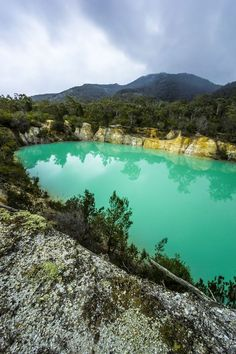 "About an hour's drive from the Coastal town of Bridport, lays an incredibly colourful lake, adequately named the ""Little Blue Lake"". Located near the township of Gladstone and Derby, the unusually turquoise water, is believed to be caused by the high mineral count seeping from the sediment around the lake. #discovertasmania #mining #tasmania Image Credit: Thomas Gray"