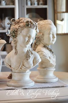 Vintage Pr French Busts, Gentleman and Lady Statue, White, Signed Paris. $165.00, via Etsy.