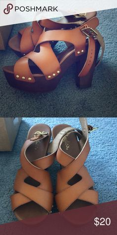 Candie's Chunky Heels, Tan, Size 9 These shoes have only been worn once! They have a thick platform and chunky heels with studs and leather-style straps. They are size nine and very comfortable! Candie's Shoes Heels