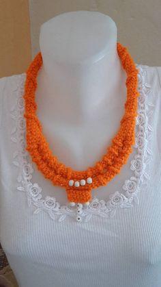 ElinorHandmade / oranžový neonový Ale, Crochet Necklace, Jewelry, Jewlery, Jewerly, Ale Beer, Schmuck, Jewels, Jewelery