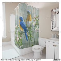 Blue Yellow Birds Cherry Blossom On Wood Pattern Shower Curtain. For the lover of spring season, nature, feathered animals, flora and fauna, flowers and blossom trees.
