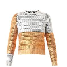 KENZO Metallic lacquered wool sweater (9 080 UAH) ❤ liked on Polyvore featuring tops, sweaters, knitwear, white multi, chunky white sweater, wool knitwear, white crop top, metallic top and cropped sweater