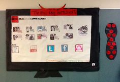 """""""Smart TV"""" Bulletin Board: We have started a House System at my school this year (which has been AWESOME so far) and my kiddos have taken the """"ball"""" and run with it!!!! This is our House Board that they designed and put together... Pure Wonderful-ness!!!! :)"""