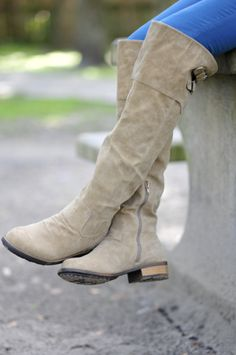 Restock: Riding High Suede Boots: Grey | Hope's