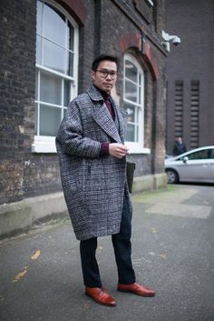 Shop this look on Lookastic:  http://lookastic.com/men/looks/red-oxford-shoes-navy-dress-pants-purple-turtleneck-grey-overcoat/8055  — Red Leather Oxford Shoes  — Navy Check Dress Pants  — Purple Turtleneck  — Grey Plaid Overcoat