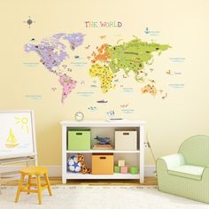 3 cool world map decals to get kids excited about geography kids world map wall decals stickers great for the bedroom or classroom gumiabroncs Images