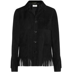 Saint Laurent Curtis fringed suede jacket (53.540 ARS) ❤ liked on Polyvore featuring outerwear, jackets, coats & jackets, tops, rock and roll jacket, suede fringe jackets, tailored jacket, suede jacket and fringe jackets