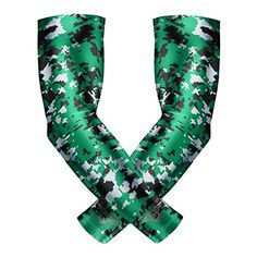 af507b28bb Bucwild Sports Compression Arm Sleeves (Pair) Youth & Adult Sizes Football,  Baseball, Basketball, Cycling, Tennis Green Camo Youth Small YS
