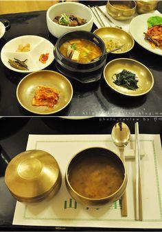 코스의 마지막으로 나오는 식사에는 찌개와 기본 밑반찬과 누릉지가 포함되어있어요 SANNERI traditional korean restaurant in insadong,seoul,korea
