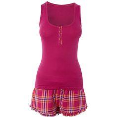 Ladies Woven Shorts & Vest Pyjama Set ($9.02) ❤ liked on Polyvore featuring intimates, sleepwear, pajamas, pijamas, pyjamas, sleep, nightwear, womensclothingnightwear, white pajama set and hooded pajamas