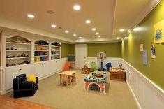 basement decor ideas Interior Design : Fresh Basement Design With Green Wall Colour Wallpaper