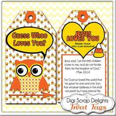 Halloween or Harvest Festival PrintableScripture Treat Tags. Candy Corn, Owl in Yellow, Orange and Black for Sunday School or Party Favors