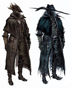 holy shit that is so close to what I think Magpie should look like. Love the overcoat, but the shoes and face could be different, also Magpie feather Bloodborne Concept Art, Bloodborne Art, Medieval Fantasy, Dark Fantasy, Fantasy Art, Bloodborne Characters, Fantasy Characters, Dnd Characters, Character Inspiration