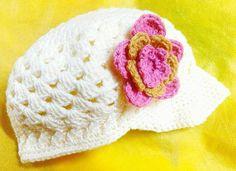Custom crochet baby's hat w/flower available at: www.TheGreenHouse222.etsy.com