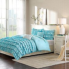 image of Intelligent Design Waterfall Reversible Comforter Set in Blue