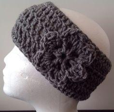 Hand Made Gray Headband Crochet With Flower