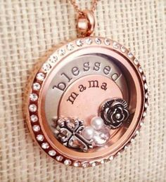 $88 ~ I am .... a blessed mama!  http://nickolesis.origamiowl.com/ #origamiowl #livinglocket #rosegoldlocket #blessedmamalocket #blessedmama #blessedmamajewelry