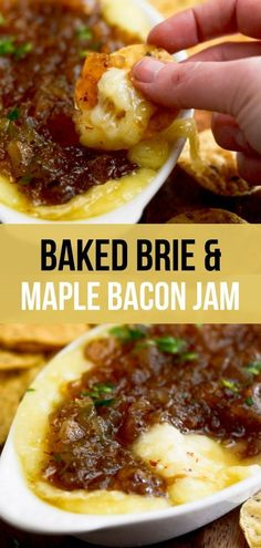 Baked Brie with Maple Bacon Onion Jam – Recipe Diaries Baked Brie and Maple Bacon Jam – a delicious bacon flavored maple jam on top of melty brie cheese. Dip with chips. Brie Cheese Recipes, Bacon Recipes, Jam Recipes, Cheese Dips, Cheese Plates, Milk Recipes, Bacon Appetizers, Appetizer Recipes, Baked Brie Appetizer