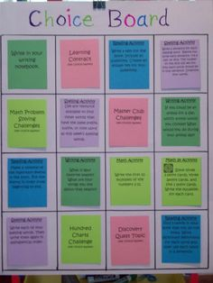 Choice Board for early finishers. Using these coloured coded choices and have colour matching tubs with activities. Each tub will have a checklist with students name as they complete an activity. Great for M.I.