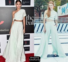 Zendaya Coleman wears this mint white striped jersey style off the shoulder flared pants set to the 2015 Diamond Ball held at Barker Hanger on Thursday (December 10th) in Santa Monica, California.  This is From the Rosie Assoulin Spring/Summer 2016 Collection.