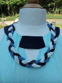 """""""University of Kentucky Pride""""--- Handmade Black, White, and Blue Braided Seed Bead Necklace with a Vintage Flower Buckle Clasp!"""