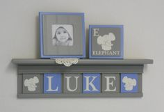 Elephant name shelf personalized baby boy gift in blue and grey by NelsonsGifts