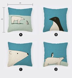 Linen Cotton Pillow Cover Polar Bear & Penguin by homeandlifestyle
