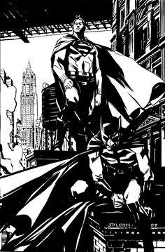 Superman and Batman by John Paul Leon