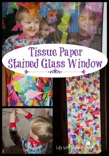 Life with Moore Babies: Tissue Paper Stained Glass Window
