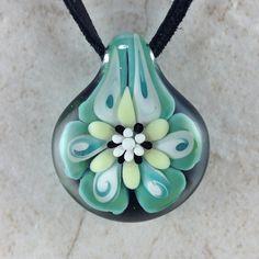 Tropical flower necklace glass beads pendant Handmade custom jewelry Lampwork beads Glass flowers Boro beads on Etsy, $14.99