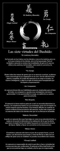 carteles las siete virtudes del bushido creo que valdria pena que las aplicara desmotivaciones