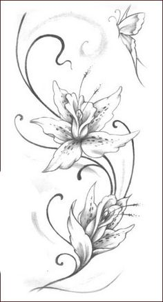 Pencil Drawings Of Flowers, Flower Sketches, Lily Tattoo Design, Flower Tattoo Designs, Tattoo Drawings, Body Art Tattoos, Art Drawings, Tattoos Skull, Lirio Tattoo