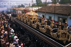 View from above of Christ's coffin in Good Friday procession, Antigua, Guatemala, Central America