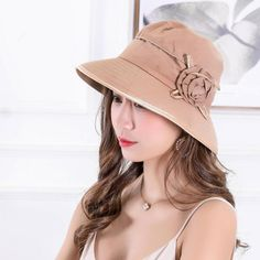 4752d65a744 Women Sun Protection Wide Birm Beach Bucket Cap Outdoor Breathable Fishing  Hat with Bowknot