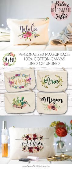 Valentines Gifts for Her : The Perfect Bridesmaid Gifts! Personalized Makeup Bags Cotton Canvas Lined or Unlined!