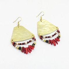 Long hammered brass Earrings with natural coral beads, Triangle Earrings, Bohemian Earrings, Chunky Earrings