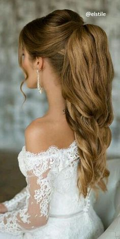 Amazing-Wedding-Ponytail-Inspiration-Lovely-Earrings-Too mais. find this pin and more on hair styles Wedding Hairstyles For Long Hair, Wedding Hair And Makeup, Formal Hairstyles, Cool Hairstyles, Hair Makeup, Hairstyle Wedding, Hairstyle Ideas, Grad Hairstyles, 2017 Hairstyle