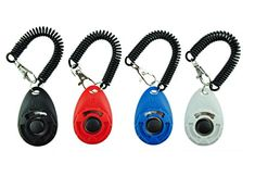 [2017 NEW UPGRADE version] Dog Training Clicker with Wrist Strap - Pet Training Clicker Set by Ecocity (4 color new) - Big button clickers for clicker training pets, dogs, cats, horses, etc 4 pack button clickers with wrist strap, 4 colors: red, black, blue, green, pink, white, orange. Package Includes: 4 x Pet Training Clicker With Wrist Strap Quality Assurance: If you have any questions of the product or any sa...