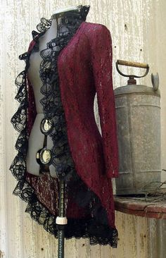 Burgundy Lace Jacket with a Victorian Steampunk Attitude. Burgundy Lace with black lace ruffle trim. Once Upon A Time this was a lace button up Costume Steampunk, Steampunk Clothing, Steampunk Jacket, Gothic Clothing, Steampunk Outfits, Gothic Steampunk, Steampunk Necklace, Steampunk Fashion Women, Hippie Clothing
