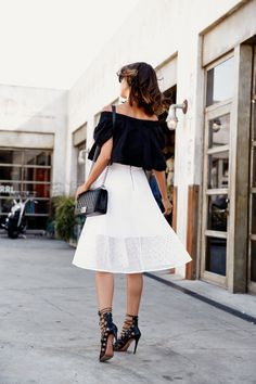 VivaLuxury - Fashion Blog by Annabelle Fleur: EASY BREEZY EYELET FREE PEOPLE MLM Willow crop top | CLUB MONACO Huette eyelet skirt | AQUAZZURA Amazon lace up sandals | CHANEL Boy flap bag in perforated leather | ILLESTEVA Boca mirrored sunglasses | WANDERLUST & CO rings  July 6, 2015