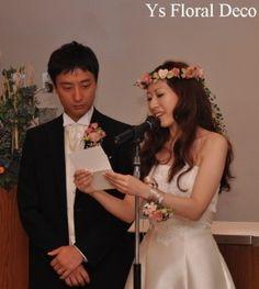 hk00032アンティーク調のくすんだピンクの花冠&リストレット @軽井沢ホテル音羽の森 ys floral deco