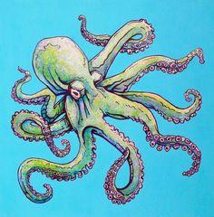 Hawaiian Octopus Art painting in ocean Octopus Sketch, Octopus Drawing, Octopus Painting, Octopus Illustration, Octopus Octopus, Octopus Crafts, Octopus Artwork, Octopus Decor, Mermaid Artwork
