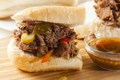 Crockpot Italian Beef for Sandwiches Recipe-----------Use rump or brisket (my fave) to make fork-tender beef for hoagies or homemade rolls (see links). Italian Beef Recipes, Italian Beef Sandwiches, Crockpot Recipes, Healthy Recipes, Cooker Recipes, Healthy Eats, Yummy Recipes, Chicken Soup Base, Cheesesteak