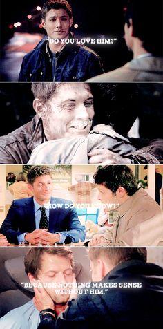 Dean + Castiel: Because nothing makes sense without him. #spn #destiel