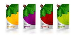 Packaging of the World: Creative Package Design Archive and Gallery: Natural Fruit Puree (Concept) by Idea Brand, Russia Pouch Packaging, Juice Packaging, Cool Packaging, Beverage Packaging, Coffee Packaging, Juice Branding, Food Branding, Fruit Puree, Packaging Design Inspiration