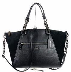ded78e807fa358 Coach 20166 Black Mixed Leather Chain Prairie Satchel Crossbody Bag for  sale online   eBay