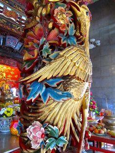 Golden bird & floral temple carving, Miri, Sarawak, Borneo