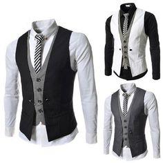 Men Casual Vest Male Slim Fit Business Leisure Suit Waistcoat Normal M-Xxl Mens Suit Vest, Mens Suits, Terno Slim, Traje Casual, Business Casual Dresses, Business Suits, Mens Fashion Suits, Mens Clothing Styles, Men's Clothing