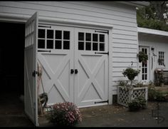 See pictures of our finished doors in our photo gallery. Hinged carriage house garage doors that open and swing out. Evergreen Carriage Doors builds custom hand crafted authentic carriage house doors and carriage garage doors. Carriage House Garage Doors, Wooden Garage Doors, Carriage Doors, Garage Door Design, Barn Garage, House Doors, Swing Out Garage Doors, Swinging Doors, Garage House